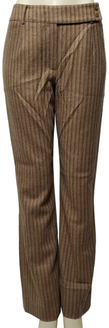 Item - Brown Dual Button Snap Flat Front Striped Pants Size 8 (M, 29, 30)