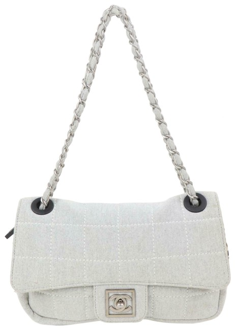 Item - Classic Handbag Quilted Sports Chain Flap 871234 Gray Cotton Shoulder Bag
