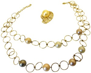 Pearlfection Pearlfection Faux South Sea Pearl Necklace and Pin Set