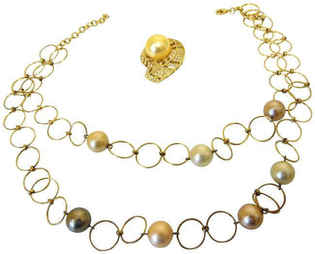 Item - Goldtone/ 925 Faux South Sea Pearl and Pin Set Necklace