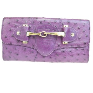 Gucci GUCCI Logo Long Bifold Wallet Purse Ostrich Leather Purple Italy