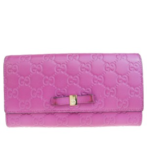 Gucci GUCCI GG Pattern Logo Long Bifold Wallet Leather Purple Italy
