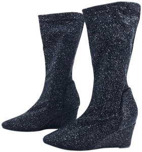 Free People Seville Slouchy Sparkle Wedge Black Boots