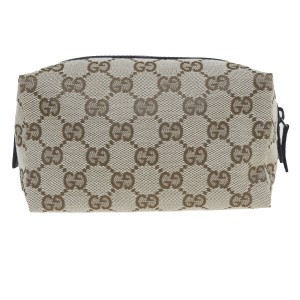 Gucci GUCCI GG Pattern Logos Hand Bag Pouch Canvas Leather Brown Italy