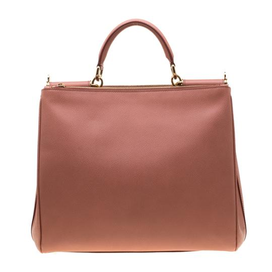 Dolce&Gabbana Leather Fabric Tote in Peach Image 1