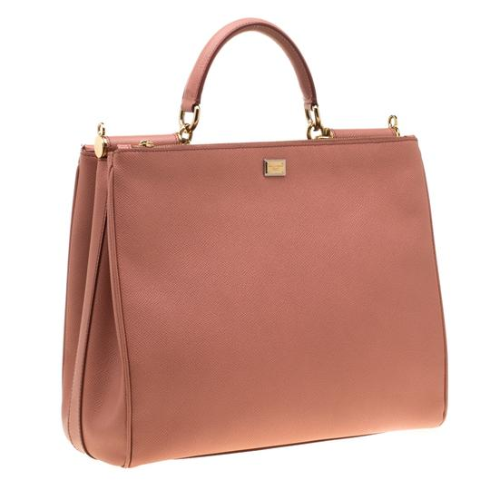 Dolce&Gabbana Leather Fabric Tote in Peach Image 3