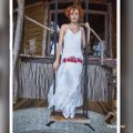 white with embroidered flowers Maxi Dress by Carolina K