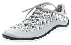 Miu Miu Mesh Fabric Rubber Grey Flats