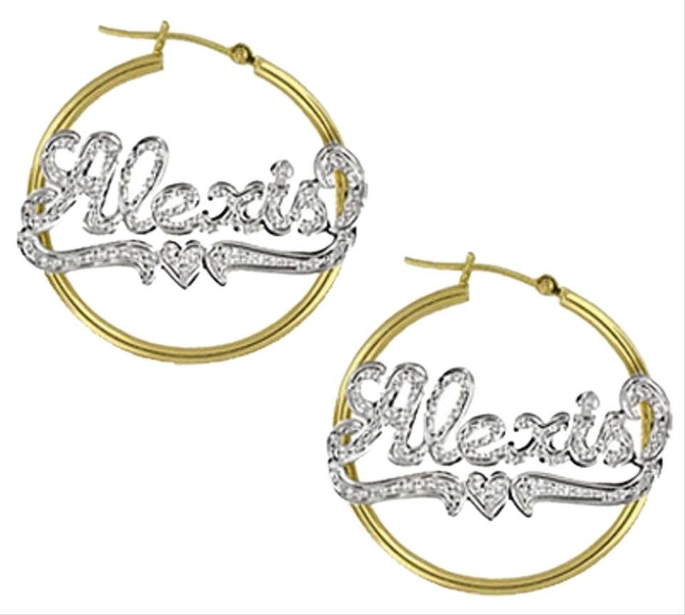 Les Of Gold Yellow Custom Name Hoop With Heart Earrings 25 Off Retail