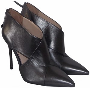 Zara Pointed Toe Ankle Leather Pewter Boots
