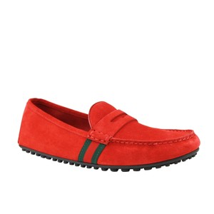 Gucci Red Driver Loafer Suede Grg Web Detail 407411 6460 Shoes