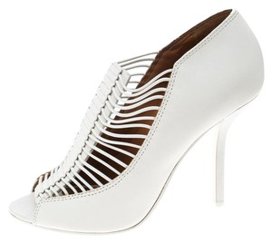 Givenchy Leather Strappy Peep Toe White Boots