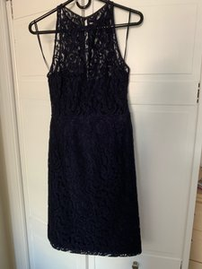J.Crew Navy Lace Overlay Illusion Neckline Modern Bridesmaid/Mob Dress Size 6 (S)
