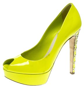 Dior Patent Leather Peep Toe Platform Green Pumps
