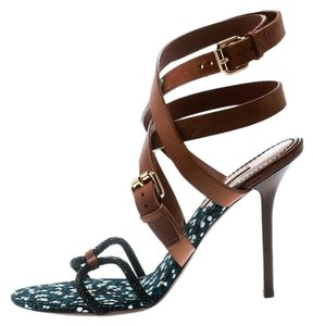 Louis Vuitton Crystal Leather Embellished Brown Sandals
