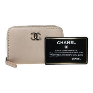 Chanel Auth Chanel A81648 Leather Coin Purse coin Case Pink Beige