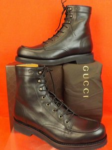 Gucci Black Mens Leather Delon Combat Gg Logo Lace Up Ankle Boots 10 11 Shoes