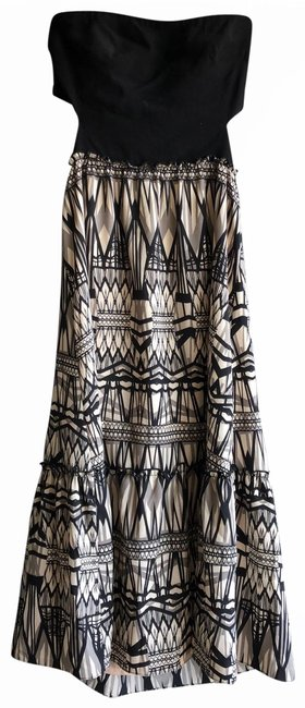 Item - Black Off White Grey Tricolor Mid-length Short Casual Dress Size 2 (XS)