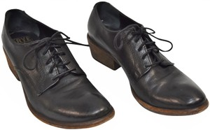 Frye Leather Oxfords Chunky Heel Black Boots