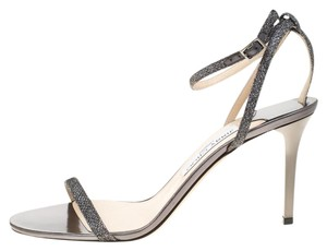 Jimmy Choo Metallic Ankle Strap Grey Sandals