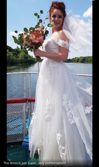 White Or Ivory Lace Off The Shoulder 2-24w Standard/Plus Formal Wedding Dress Size OS (one size) Image 4
