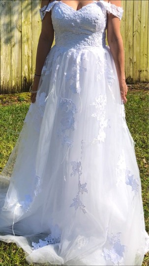 White Or Ivory Lace Off The Shoulder 2-24w Standard/Plus Formal Wedding Dress Size OS (one size) Image 5