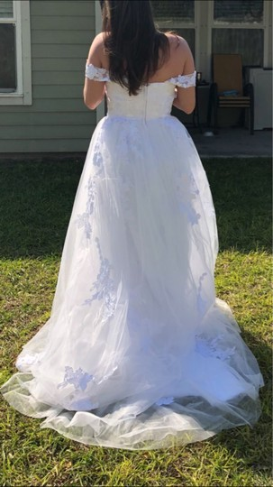White Or Ivory Lace Off The Shoulder 2-24w Standard/Plus Formal Wedding Dress Size OS (one size) Image 6