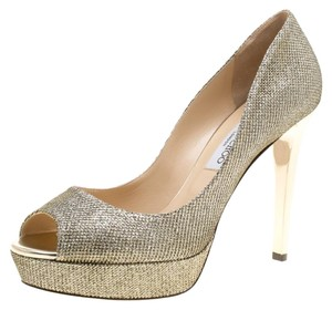 Jimmy Choo Gold Platform Peep Toe Metallic Pumps