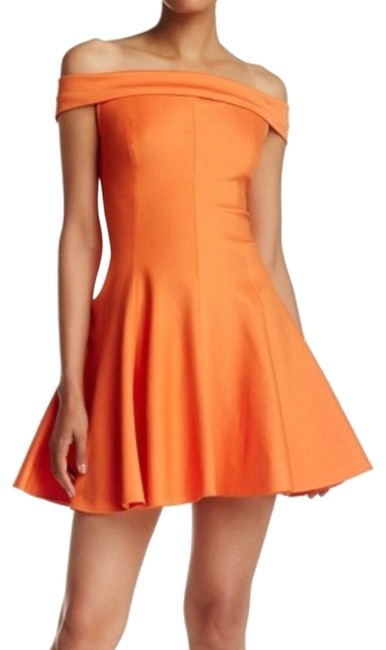 Item - Orange Off The Shoulder Short Cocktail Dress Size 6 (S)