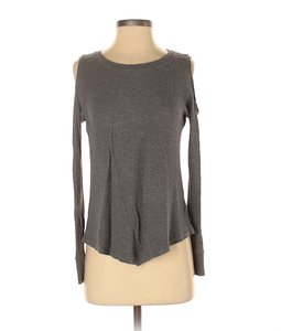 LNA Moda Rib Cold Shoulder Open Shoulder Top Gray
