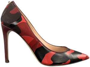 Valentino Rockstud Studded Camouflage Pointed Red Pumps