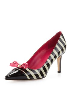 Kate Spade Patent Leather Leather Party Italian Black & White Pumps