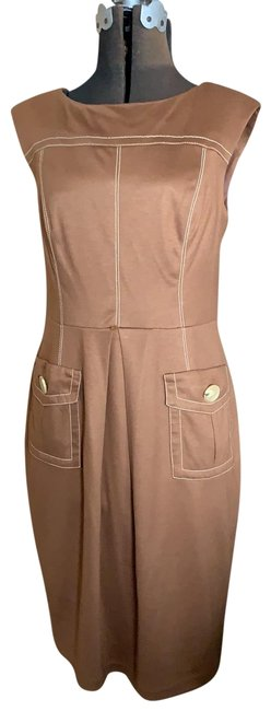 Item - Brown Knit Mid-length Work/Office Dress Size 12 (L)