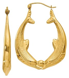 Apples of Gold KISSING DOLPHINS HOOP EARRINGS, 14K GOLD