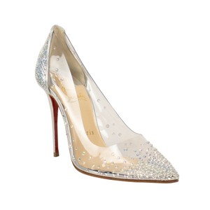 Christian Louboutin Pointed Toe Crystal Studded Leather Silver Pumps