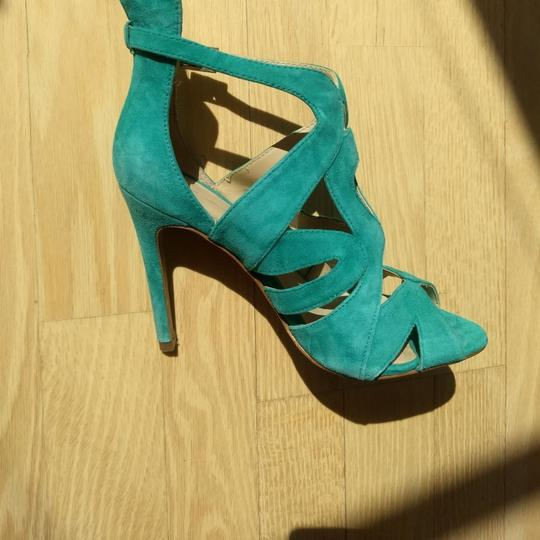 Zara Bootie Open Toe Suede Leather Ankle Strap Teel green Sandals Image 2