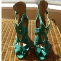 Zara Bootie Open Toe Suede Leather Ankle Strap Teel green Sandals Image 5