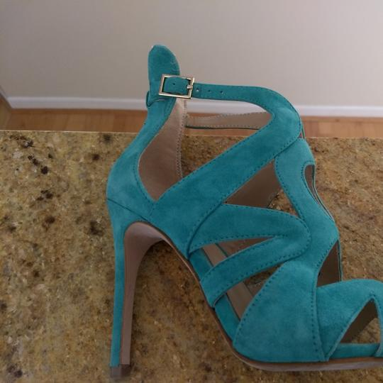 Zara Bootie Open Toe Suede Leather Ankle Strap Teel green Sandals Image 7