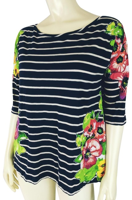 Item - Multicolor S Cotton Stretch Knit Pullover Floral Appliques 3/4 Dol Tee Shirt Size 6 (S)