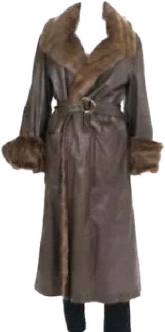Item - Dark Brown Full Mink Lined Leather Coat Size OS (one size)