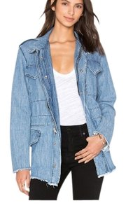 RtA Frayed Denim Womens Jean Jacket