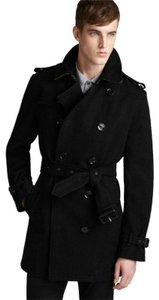 Burberry Black W Men's Wool Nova Check Double Breasted Coat W/Belt M 3820137 Groomsman Gift