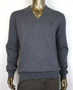 Gucci Medium Gray Wool Long Sleeve V-neck Pullover Sweater 2xl 438136 1200 Groomsman Gift