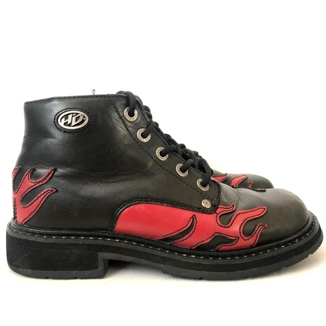 Item - Black Red Flame Lace Up Ankle Boots/Booties Size US 7.5 Regular (M, B)