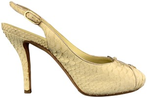 Chanel Snake Skin Slingback Cc Vintage Coco Pastel Yellow Pumps