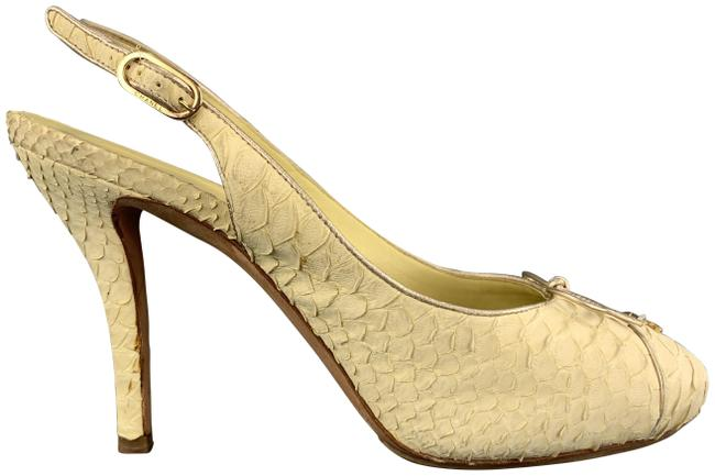 Item - Pastel Yellow Snake Skin Cc Slingback Pumps Size US 8.5 Regular (M, B)