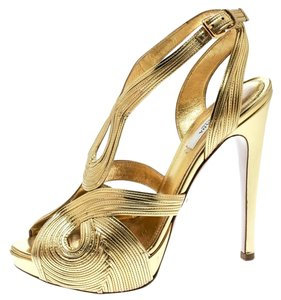Prada Metallic Leather Peep Toe Gold Sandals