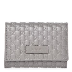 Gucci Gucci Embossed Microguccissima Loess Grey Leather Cardholder 544030