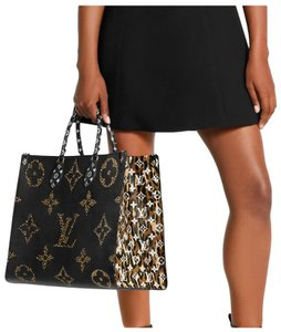 Louis Vuitton Jungle Giant Limited Edition Monogram Leopard Tote in Black caramel