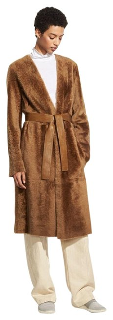 Item - Camel Reversible Belted Shearling Leather Coat Size 12 (L)